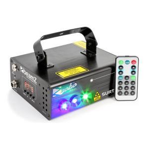 Surtur II tuplasäteilylaser RG 3W LED sininen 7-DMX 8 goboa IR-kaukosäädin