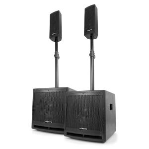 "VX1000BT 2.2 Active Speaker Set 1000W 10"" Subwoofer BT USB SD MIC AUX"