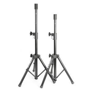 PA set van 2 luidsprekerstatieven 2x boxenstandaard flens 69-135 cm - zwart