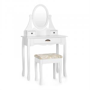Miss Leonore Coiffeuse miroir inclinable 3 tiroirs tabouret - blanc