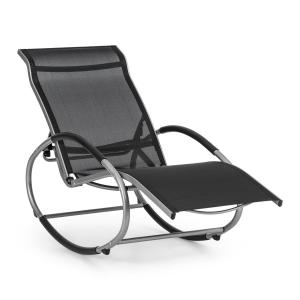 Santorini Rocking Chair Deck Chair Aluminum Polyester Black Black