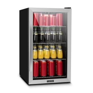 Beersafe 4XL Beverage Cooler Drinks Refrigerator 124l 0-10 ° C Glass EEK A + Stainless Steel Silver | 124 Ltr