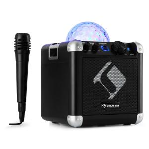 BC-10 karaokesysteem led partylicht bluetooth accu USB AUX-In zwart