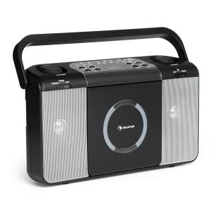 Boomtown USB CD-Player UKW Radio MP3 tragbar Kofferradio Boombox Schwarz