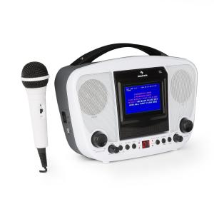 "KaraBanga Karaoke System Microphone TFT Colour Display 4.3""Bluetooth White"