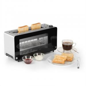 Canyon toaster broodrooster dubbel glazen venster 1200W draaiknop rvs