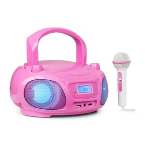 Roadie Sing CD Boombox UKW-Radio Lichtshow CD-Player Mikrofon Pink