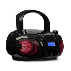 Roadie DAB CD-soitin DAB/DAB+ UKW LED diskovaloefekti USB Bluetooth musta