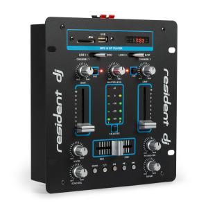 DJ25 DJ-mixer mengpaneel versterker bluetooth USB zwart/blauw Blauw