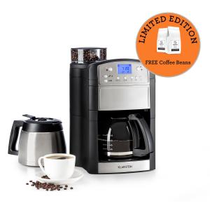 Klarstein Aromatica Set Coffee Machine Grinder Glass Jug / Thermos Stainless Steel Brushed stainless steel | Glass & thermos can