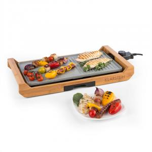 Tenderloin Grill 1800W Non-stick Coating Grease Tray Bamboo Grey