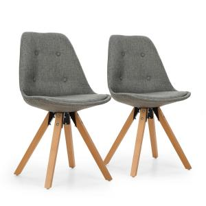Iseo Shell Chair Set 2-piece Set of Upholstered PP-Shell Birch Grey Grey