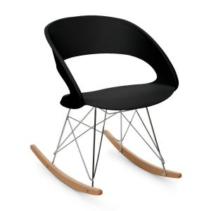 Travolta Rocking Chair Retro PP Shell Birch Black Black