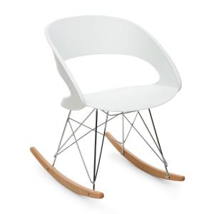 Travolta Rocking Chair Retro PP Shell Birch White White