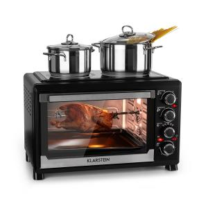 Masterchef Mini Oven 60-Minute Timer 38 Litres Infrared Hotplates Black