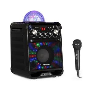 Rockstar LED Impianto Karaoke Lettore CD Bluetooth AUX 2 x 6,3mm Nero