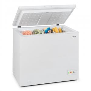 Iceblokk 200 Chest Freezer A ++ 200 Litres 2 Hanging Baskets Floor Rollers White