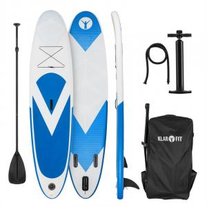 Spreestar Tabla hinchable de paddle surf Set de tabla SUP 300 x 10 x 71 Azul y blanco Blanco