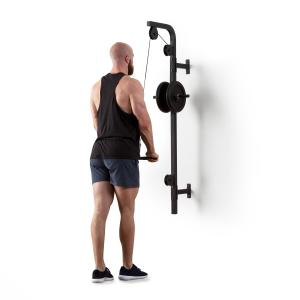 Stronghold Lat Pull Wall Installation 100kg 2.5m Cable Tricep Bar black Black