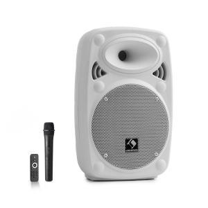 """Streetstar 8 przenośny zestaw PA 8"""" (20 cm) mikrofon UHF maks. 200 W biały Biały   200 W"""