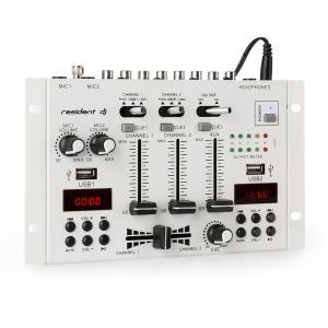 22BT 2CH Mesa de mezclas DJ de 3/2 canales 2x USB 3x jack de 6,3 blanca Blanco