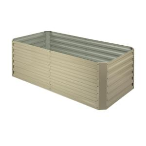 High Grow Straight Raised Flower Bed Garden Bed 180x60x90cm 970l Steel Galvanized Beige Beige