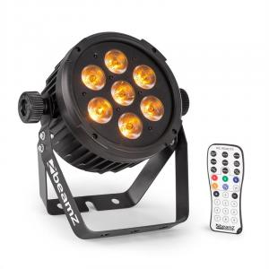 BT280 LED Flat Par LED-Strahler 7x 10W 6in1-LEDs RGBWA-UV Fernbedienung