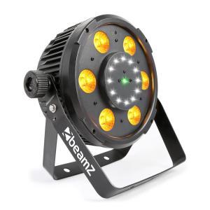 BX100 PAR Foco LED 6x 6W 4 en1 LEDs RGBW 12x Estroboscopio LEDs Láser RG
