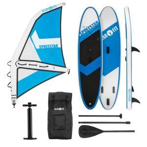 Spreestar WS aufblasbares Paddelboard SUP-Board-Set Windsurfboard 3 m² 300x10x71 blau-weiß S