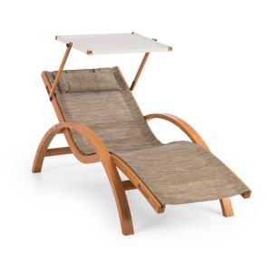 Acapulco Garden Lounger with Roof ComfortMesh Load Capacity Beige Beige