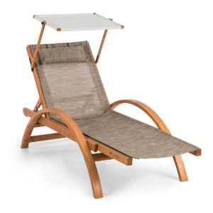 Panamera Garden Lounger with Roof ComfortMesh Load Capacity: 150kg Cream Creme