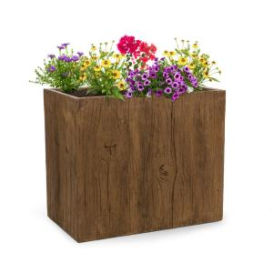 Timberflor Plant Pot 70 x 60 x 40 cm Fiberglass Indoor / Outdoor Brown 70 x 60 x 40 cm