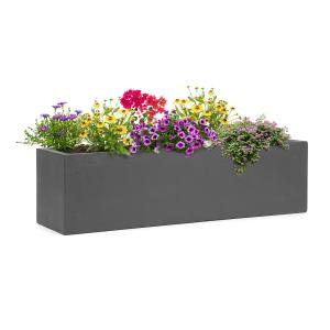 Solidflor Plant Pot 75 x 20 x 20 cm Fiberglass In/Outdoor dark grey Dark grey