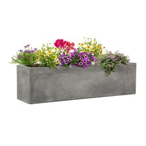 Solidflor Plant Pot 75 x 20 x 20 cm Fiberglass In/Outdoor light gray Light grey