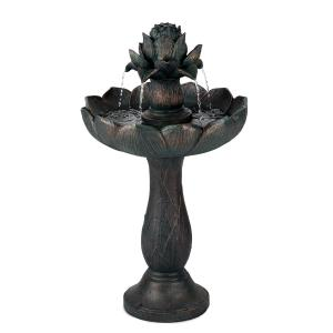 Rose Belle Gartenbrunnen Polyresin 6W romantisches Design Metalloptik