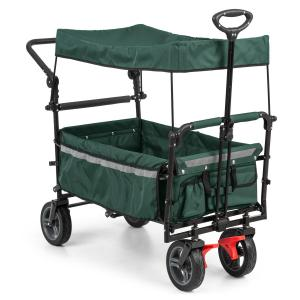 Easy Rider Handcart Wagon with Roof up to 70kg Telescopic Pole Green Green