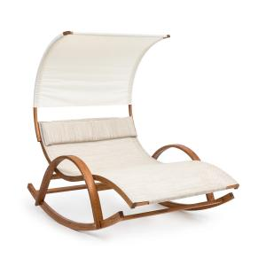 Mauritius Swing Lounger with Roof ComfortMesh 180kg max. Weather-Resistant Cream