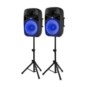 "VPS122A Active Speaker Set 800 W 12"" (30 cm) USB / SD-Port MP3 BT 800 W"