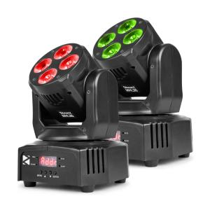 MHL36 moving head set van 2 led stralers 4x9W 4in1 leds RGBW 4 shows zwart