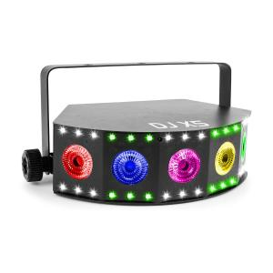 DJ X5 array 5x10W 4-in-1 en 30x SMD RGB DMX of stand alone zwart