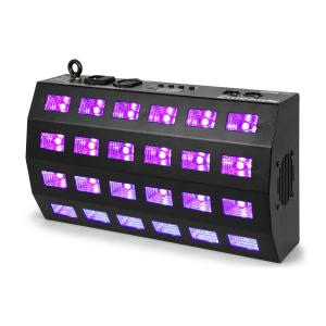 BUV463 LED UV Strobe 24x3W DMX / Standalone 7 DMX Channels 85W Black