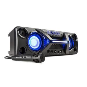 Ultrasonic BT Boombox Bluetooth 2x 20W LCD Display Karaoke Function Black