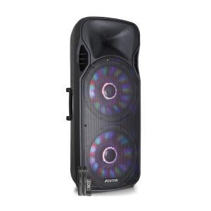 "FT215LED Aktiv-Lautsprecher 2x15"" 1600W BT/USB/SD/AUX LED 2xMikro Trolley"