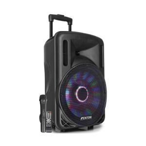 "FT12LED Aktiv-Lautsprecher 12"" 700W BT/USB/SD/AUX LED Akku Trolley"
