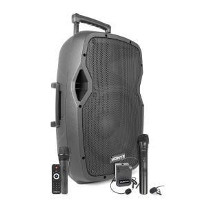 "AP1200PA Portable PA System 12"" 600W BT/USB/SD/AUX 3x Microphone Battery Trolley"