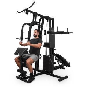 Ultimate Gym 9000 Fitness-station, 7 stationer, 100 kg, viktstapel, svart Svart