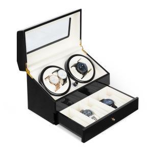 Geneva horlogeopwinder 4 horloges 4 modi schuiflade zwart Zwart