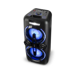 Bazzter Party Audio System 2 x 50W RMS Batteria BT USB MP3 AUX FM  LED Microfono