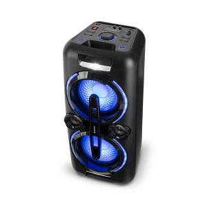 Bazzter Party-audiosystem 2 x 50W RMS batteri BT USB MP3 AUX FM LED mikrofon