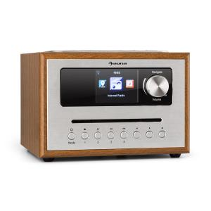 auna Silver Star CD Cube Radio Bluetooth HCC Display wood brown Brown